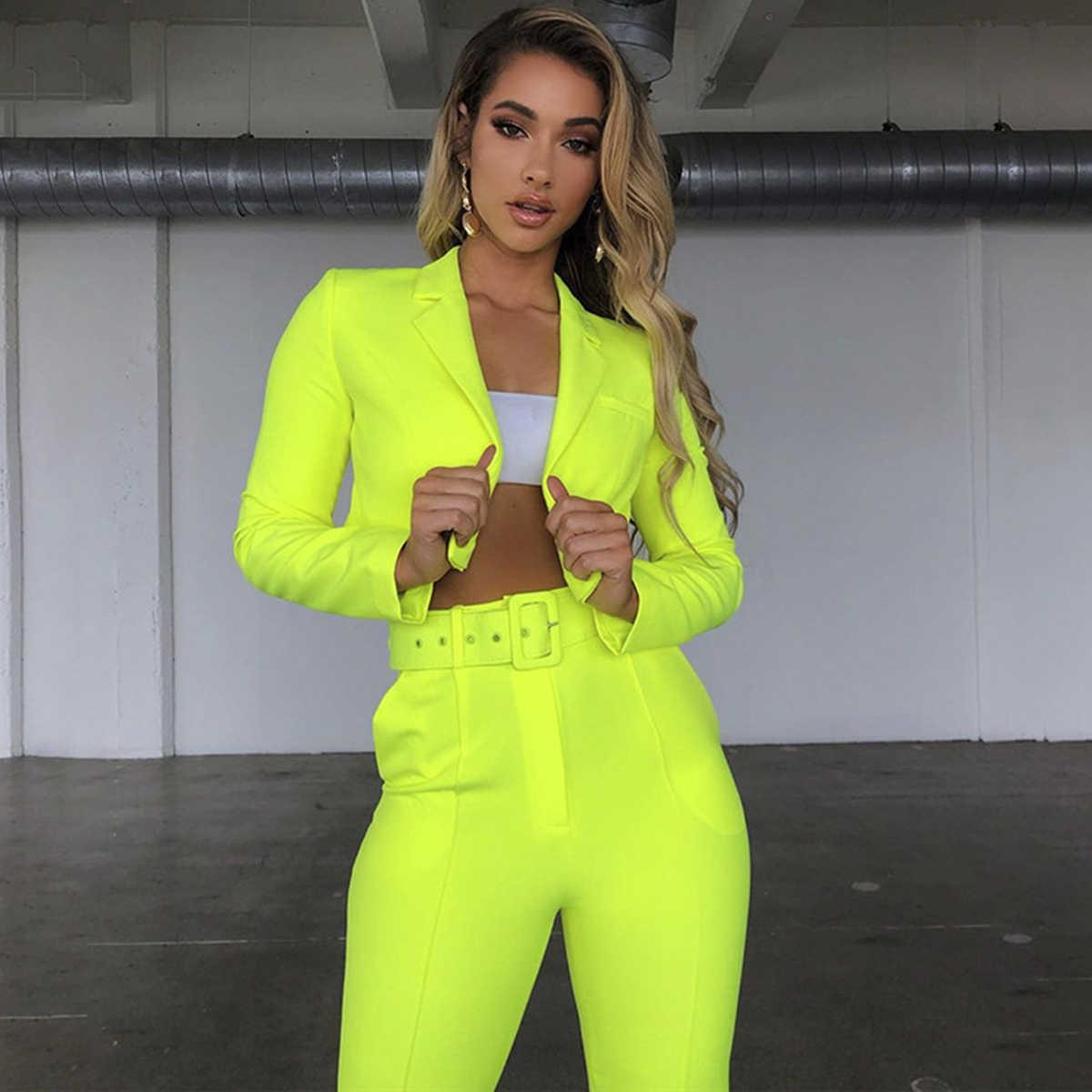 2019 mode Frauen Damen Solide Sets Langarm Revers Blazer Crop Tops OL Hosen Loungewear Mode Frauen Anzüge Trainingsanzug