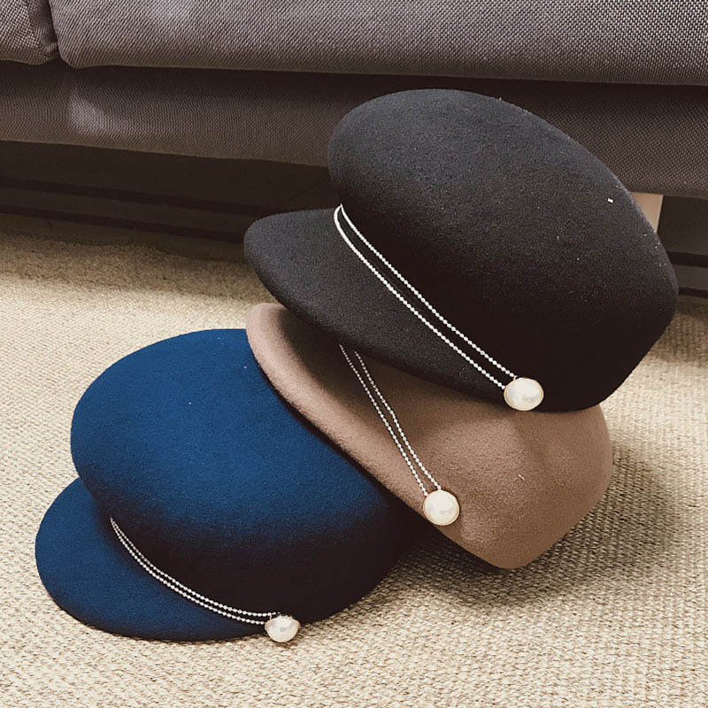 New Fashion Thick Wool Hat Top Quality Women Warm Winter Hats Ladies Visor Church Hat Adjustable Camel Black Blue Military Hat