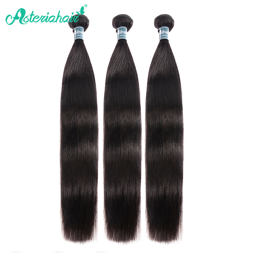 Asteria Hair-Bundles Straight Peruvian Natural-Black 10-30inch Remy title=