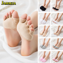 2Pairs Women Toe Style Sock Pad Invisible Solid Fashion Five Finger Cotton Half Foot Colorful Simple Summer Soft Peds & Liner