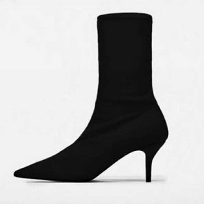 Kadın Ayak Bileği Çorap 2019 Moda Sonbahar Kış Streç Çizmeler 6CM Stiletto Yüksek Topuklu Sivri Burun Kadın Ayakkabı Kırmızı siyah