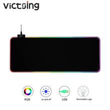 VicTsing XR257 podkładka pod mysz do gier RGB podkładka pod mysz dla graczy podkładka pod mysz dla graczy RGB podświetlana podkładka pod mysz duża podkładka pod mysz XXL na klawiaturę biurkową cheap RUBBER VicTsing XR257 RGB Gaming Mouse Pad Zdjęcie VicTsing XR257 Gaming Mouse Pad RGB Mouse Pad Rubber + Cloth 1 8m 350x250x4mm 300x800x4mm (Optional)
