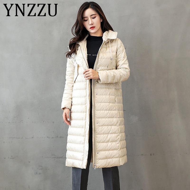 YNZZU 2019 Autumn Winter Elegant Women's Down Jacket Solid Long Style Hooded 90% White Goose Down Coat Warm Female Outwear A1215