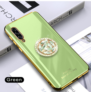Image 5 - Shiny Diamond Finger Ring Plating Silicone Phone Case For Samsung Galaxy A7 2018 A750 Coque Ultra thin Soft TPU Cover