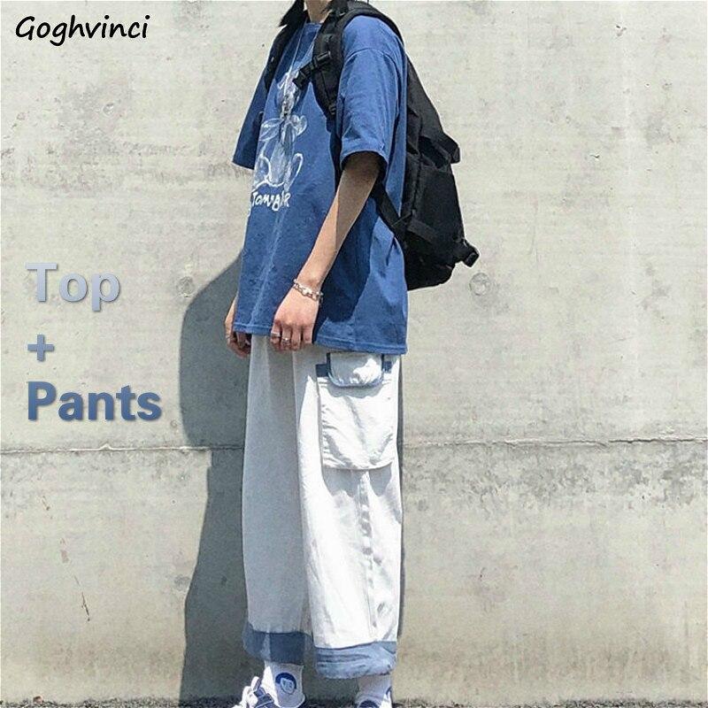 Conjuntos De Dos Piezas Harajuku Elegante Para Adolescentes Conjunto De Top Y Pantalones De Moda Adorable Dibujo Animado Coreano Sueter De Universidad Pantalon De Pierna Ancha De Verano Conjuntos De Mujer Aliexpress