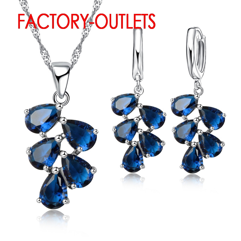 925 Sterling Silver Bridal Jewelry Sets Austrian Crystal Plant Shape Necklaces Hoop Earrings Women Girls Party Anniversary
