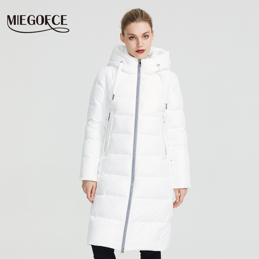 MIEGOFCE 2019 New Winter Women Collection Coat Ladie Winter Jacket Below Knee Length Warm Coat With Hood Protect Ffrom Wind Cold-in Parkas from Women's Clothing    1