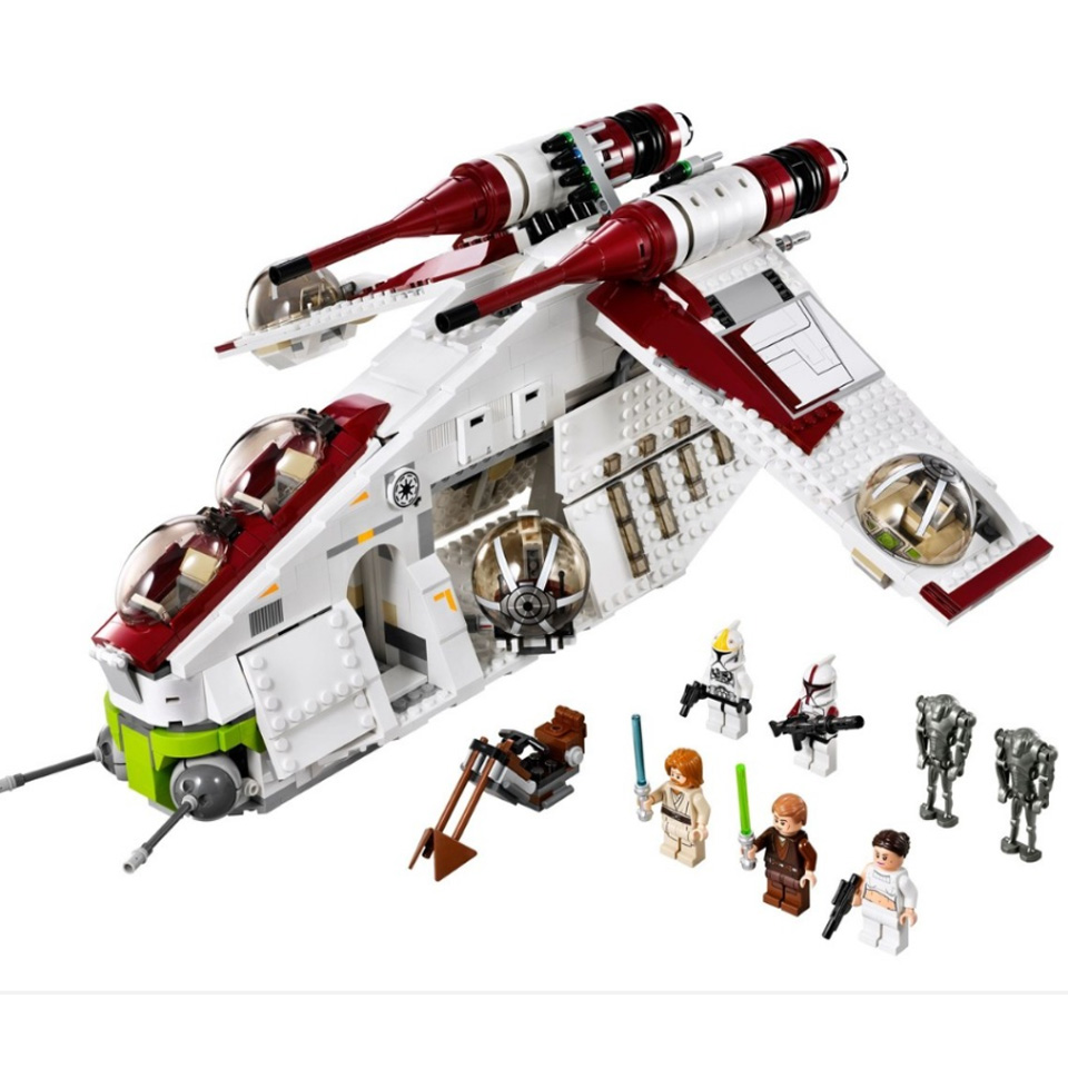 <font><b>05041</b></font> <font><b>Star</b></font> <font><b>Wars</b></font> on Toy Republic Gunship Set StarWars Compatible with Lepining 75021 Children's Ship Educational Blocks Toys image