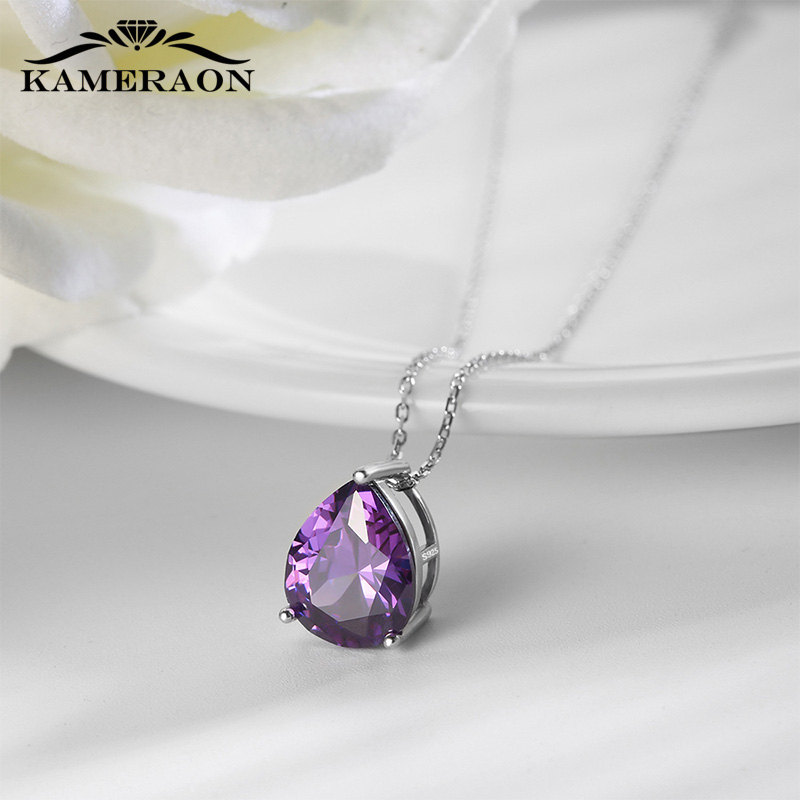 Real Sterling Silver Necklaces 925 For Women Chain December Birthstone Cubic Zirconia Necklace Amethyst Collar Pendant Jewelry