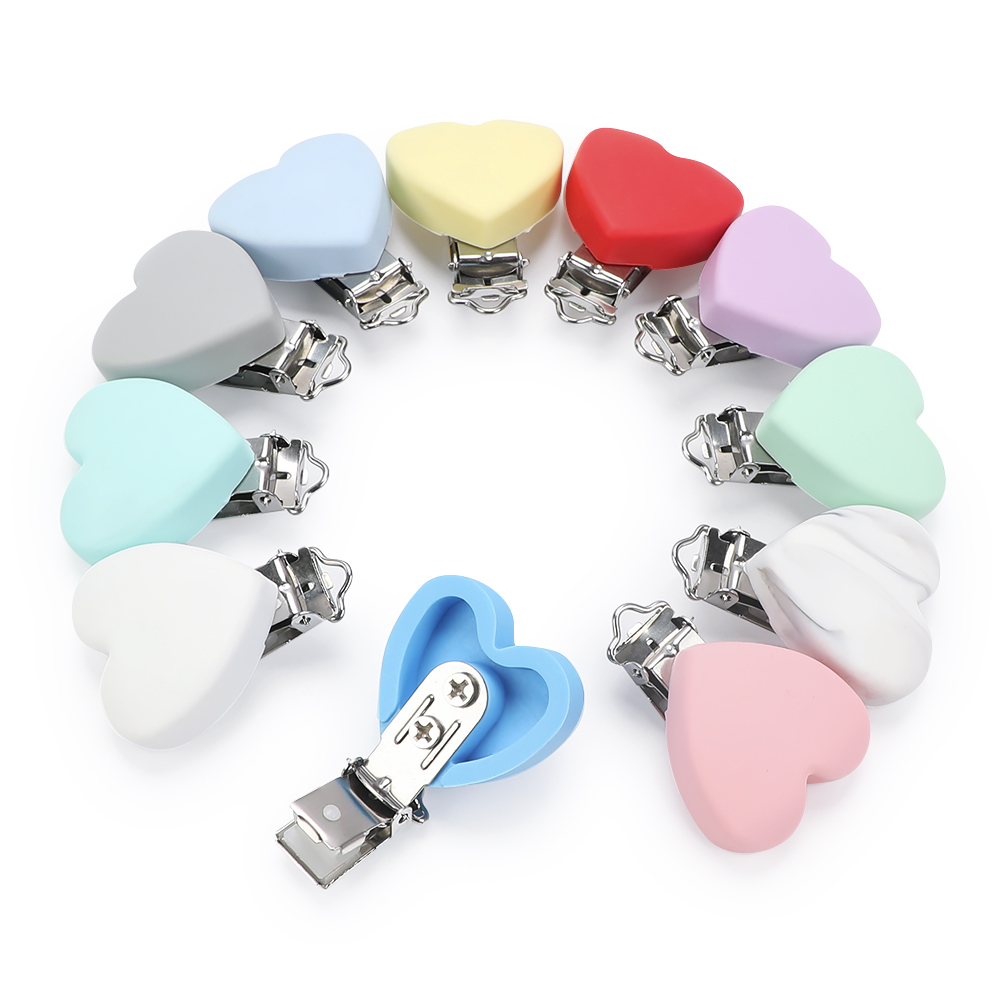 TYRY.HU 3pc/set Clip Silicone Heart Pacifier Chain Holder Soother Nursing Clips BPA Free Teether Clip