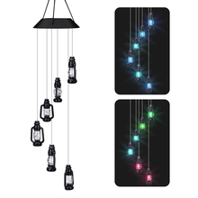 Solar Powered Wind Chimes LED Light Outdoor Color Changing Wireless Decoration Pendant Yard Garden Home Decor Hanging Gifts B4