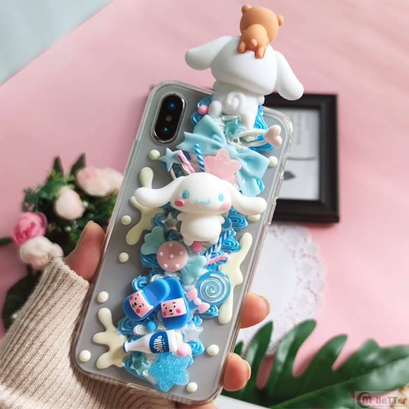 DIY case For Samsung s20 ultra 3D Cinnamoroll Phone Cover Note 8/9/10+ Cute Dog cream shell Galaxy s7edge handmade s8/s9 s10plus