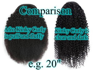 Image 5 - Halo Lady Beauty Drawstring Afro Kinky Curly Ponytail Human Hair Non Remy Indian Hair Extensions Pony Tail For African American