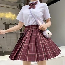 Japanese School Uniforms Red Plaid Skirts Girl's Dresses JK Suits Bowknot Shirt Female Sailor Costumes Dress Clothes for Women