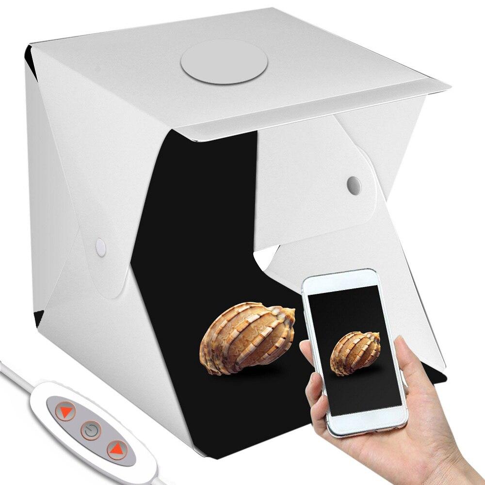 40*40cm Dual LED Panels Folding Lightbox Portable LED Light Box Tabletop Shooting Foldable Tent Led Studio Box Photobox