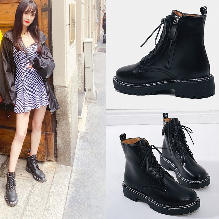 Yang Mi Celebrity Style Shoes Autumn Martin Boots Women's Breathable Handsome Thick Bottomed Workwear Black And White With Patte