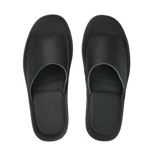 Image 3 - Genuine Cow Leather slippers couple indoor non slip men women home fashion casual single shoes TPR soft soles spring summer