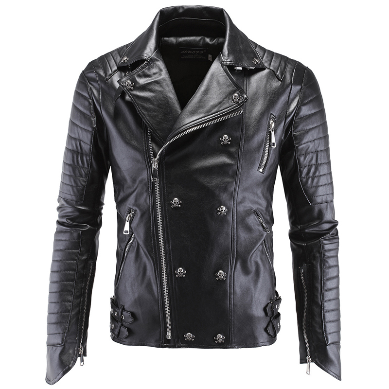 2020 Automotive Mens Leather Jacket Coat Skulls Sequined Personality 5XL Winter Mans Leather Suede Coats PU Streetwear A866