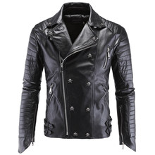 2020 Automotive Mens Leather Jacket Coat Skulls Sequined Personality 5XL Winter Mans Leather Suede Coats PU Streetwear A866(China)