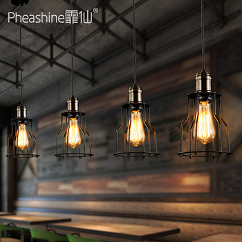 Loft retro industrial decoration restaurant bar modern minimalist bar chandelier lamps