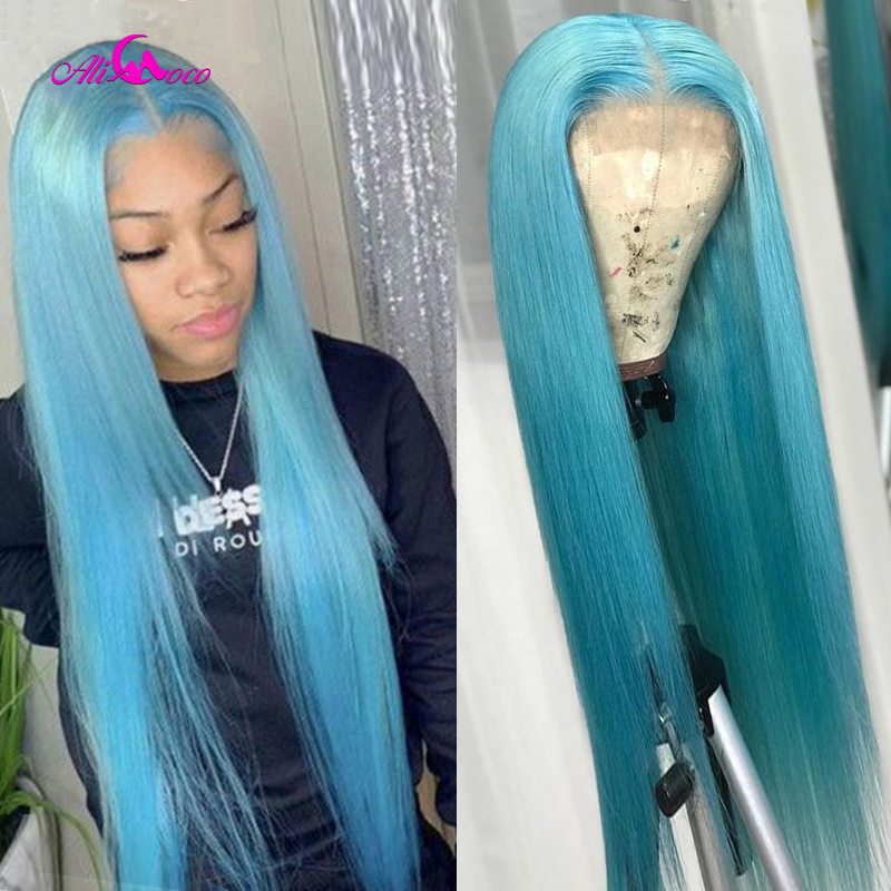 Ali Coco Colored Wigs 13X4 Straight Light Blue Lace Front Human Hair Wig Orange Straight Hair Wigs Preplucked For Black Women
