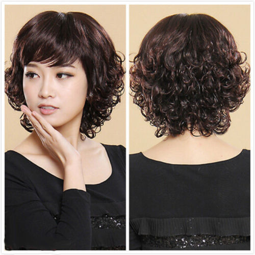 Fashion Dark Brown Wavy Short Curly Women Lady Cosplay Party Hair Wig
