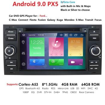 2 Din Auto Radio Android 9 For Ford/Mondeo/Focus/Transit/C-MAX Car DVD Multimedia GPS Player RAM 4GB ROM 64GB DVR DSP FM image