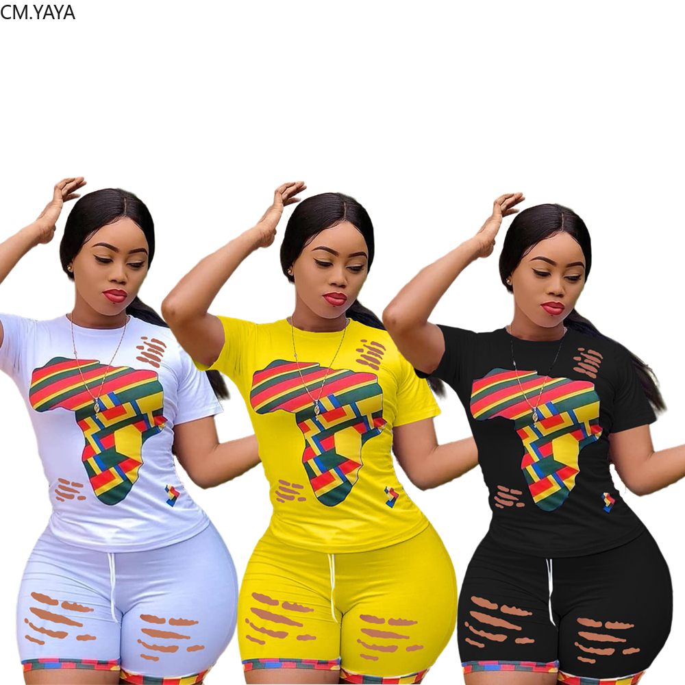 CM.YAYA women summer colorful print two piece set hollow out hole o-neck t-shirt shorts pants suit sports tracksuit outfit 1