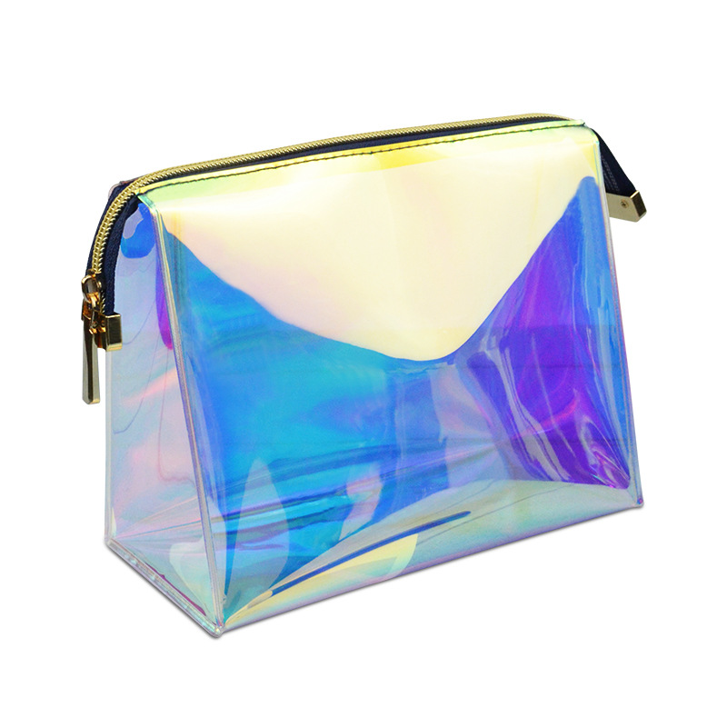 Fashion Laser Cosmetic Bag TPU Makeup Bag  Waterproof Holographic Beauty Case Clear Travel Organizer Iridescent Clutch Pouch