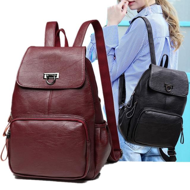 Genuine Leather Backpack Bags For Women 2019 Large Capacity Women Backpack Waterproof  Youth School Bags