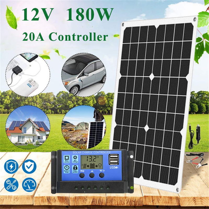 180W 12V Protable Solar Panel Kit 1 2 USB Port with 20A LCD Display Solar Charge Controller Off Grid Monocrystalline Module