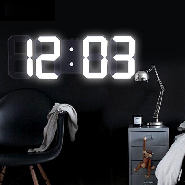 Towayer 3D Large LED Digital Wall Clock Date Time Celsius Nightlight Display Table Desktop Clocks Alarm Clock From Living Room