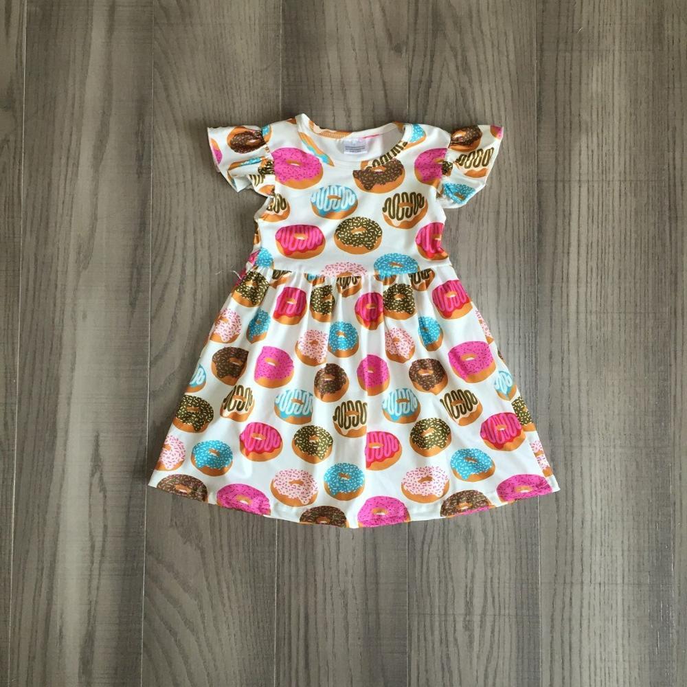 Baby Girls Summer Dress Girl Donut Print Dress Childrens Boutique Dress