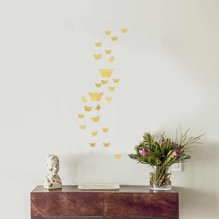 12 ピース/セットシルバー 3D ミラー蝶のウォールステッカーデカール壁アートリムーバブルルームパーティー結婚式の装飾壁ステッカー子供のためのルーム