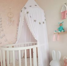 Luxury Chiffon and Linen Mosquito Net for Baby Crib Kid Baby Bed Canopy Bedcover Curtain Round Dome Tent Fly Insect Protection