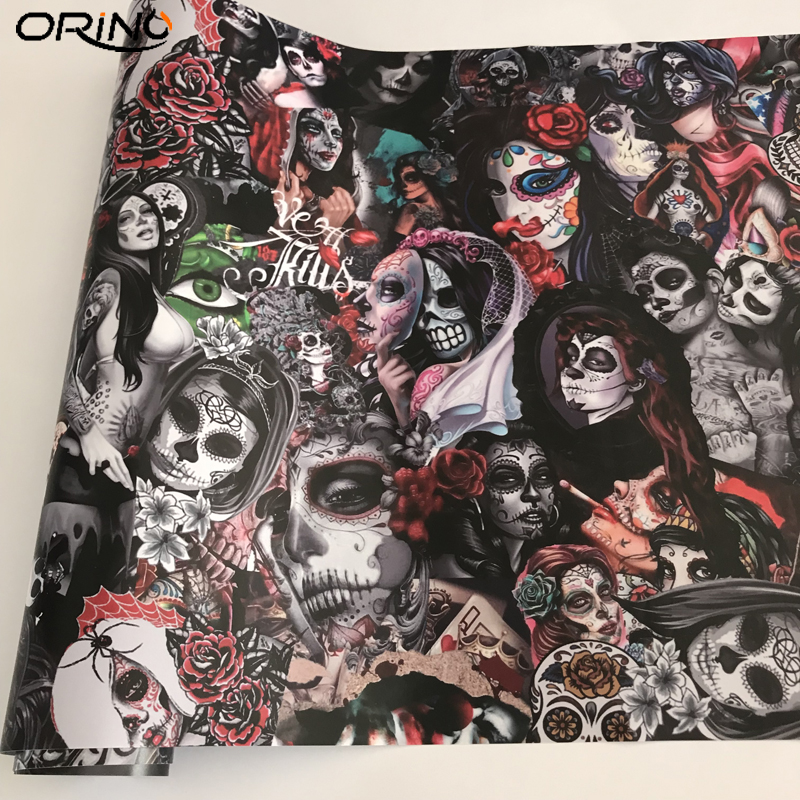 Sugar Skull Sticker Bomb Vinyl Wrap Film-1