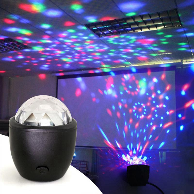 Mini Voice Activated Usb Crystal Magic Ball Led Stage Disco Ball Projector Party Lights Flash Dj Lights For Home Ktv Bar Car