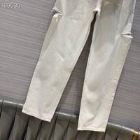 2020 Jeans Female Denim Pants Korean Fashion Pencil Pants Belt Hole White / Blue Runway Top Sale Denim Elastic Trousers for Lady