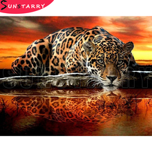Full Drill Square Round 5D DIY Diamond Painting Leopard Tiger Diamond Embroidery Cross Stitch Rhinestone Mosaic Painting Decor full square diamond 5d diy diamond painting tiger lion leopard 3d embroidery cross stitch rhinestone mosaic painting decor bk
