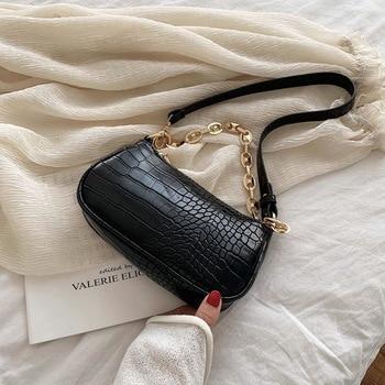 Fashion Crocodile Pattern Baguette bags MINI PU Leather Shoulder Bags For Women 2020 Chain Design Luxury Hand Bag Female Travel - Black