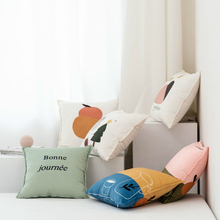 Nordic Style Simple Pillow Cover Orange Velveteen Printing Throw Case Sofa Living Room Chair Home Soft Decoration 45x45