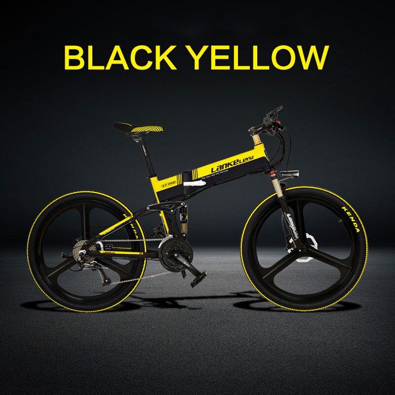 Электрический велосипед 26 дюймов 27 скоростей масляный диск литиевая батарея пятискоростной электромобиль - Цвет: Black yellow 48V