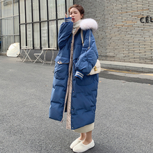 Women's Jacket Big-Fur-Collar Winter Hooded Cotton Coat Long Fashion Thick 8Y Loose 90%White-Duck-Down