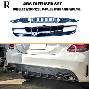 C63s Style 4 Outlet ABS Rear Diffuser with Exhaust Tips for Benz W205 S205 4Door C180 C200 C300 C43 C63 with AMG Package 15 - 22(China)