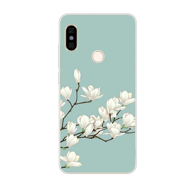 شاومي مي ماكس 3 ، سيليكون كامل زهرة اللوحة لينة تي بي يو الظهر جراب هاتف شاومي مي ماكس 2 حماية حقائب الهاتف
