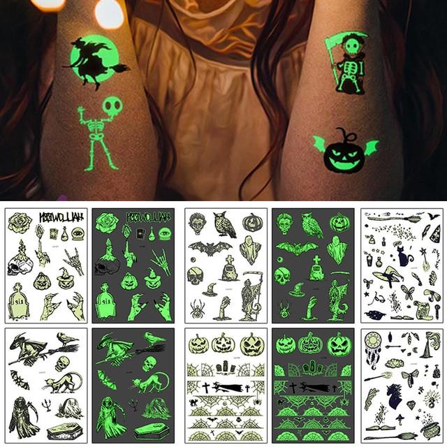 Luminous Temporary Tattoos Stickers GLOW IN DARK Face Body Waterproof Tattoo sticker Party Halloween TSLM1