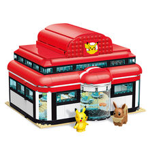 Criador dos desenhos animados anime pokémon centro casa pikachu blocos de construção tijolos conjuntos clássico filme modelo crianças brinquedos para crianças presente