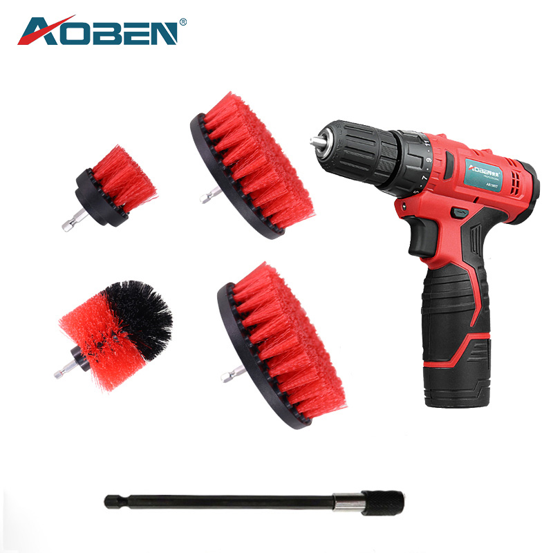 AOBEN Drill Brush Attachment Set Power Scrubber For Cleaning Bathroom Surfaces Carpet Leather Wooden Furniture Car Interiors