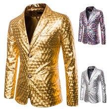 Oeak мужской роскошный золотой серебряный Блейзер брендовый мужской модный гладиловый Костюм приталенный DJ сценическая одежда ночная рубашка для вечеринки
