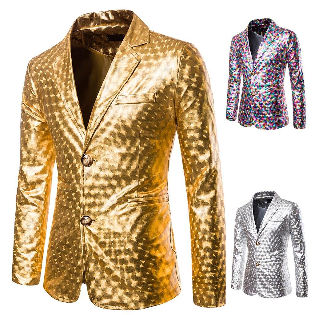 Oeak Men Luxury Golden Silver Blazer 2019 Brand Men Fashion Gliter Suit Jacket Slim DJ Stage Clothes For Party Nightwear